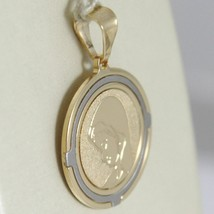 18K WHITE AND YELLOW GOLD MEDAL ROUND STYLIZED WITH  VIRGIN MARY  MADE IN ITALY  image 2