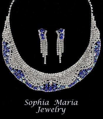 Mother of the bride sapphire blue crystal evening rhinestone necklace set bride