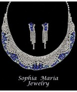Mother of the bride sapphire blue crystal evening rhinestone necklace se... - $26.59