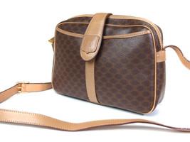 Auth CELINE MACADAM PVC Canvas Leather Brown Cross-Body Shoulder Bag CS1... - $110.00