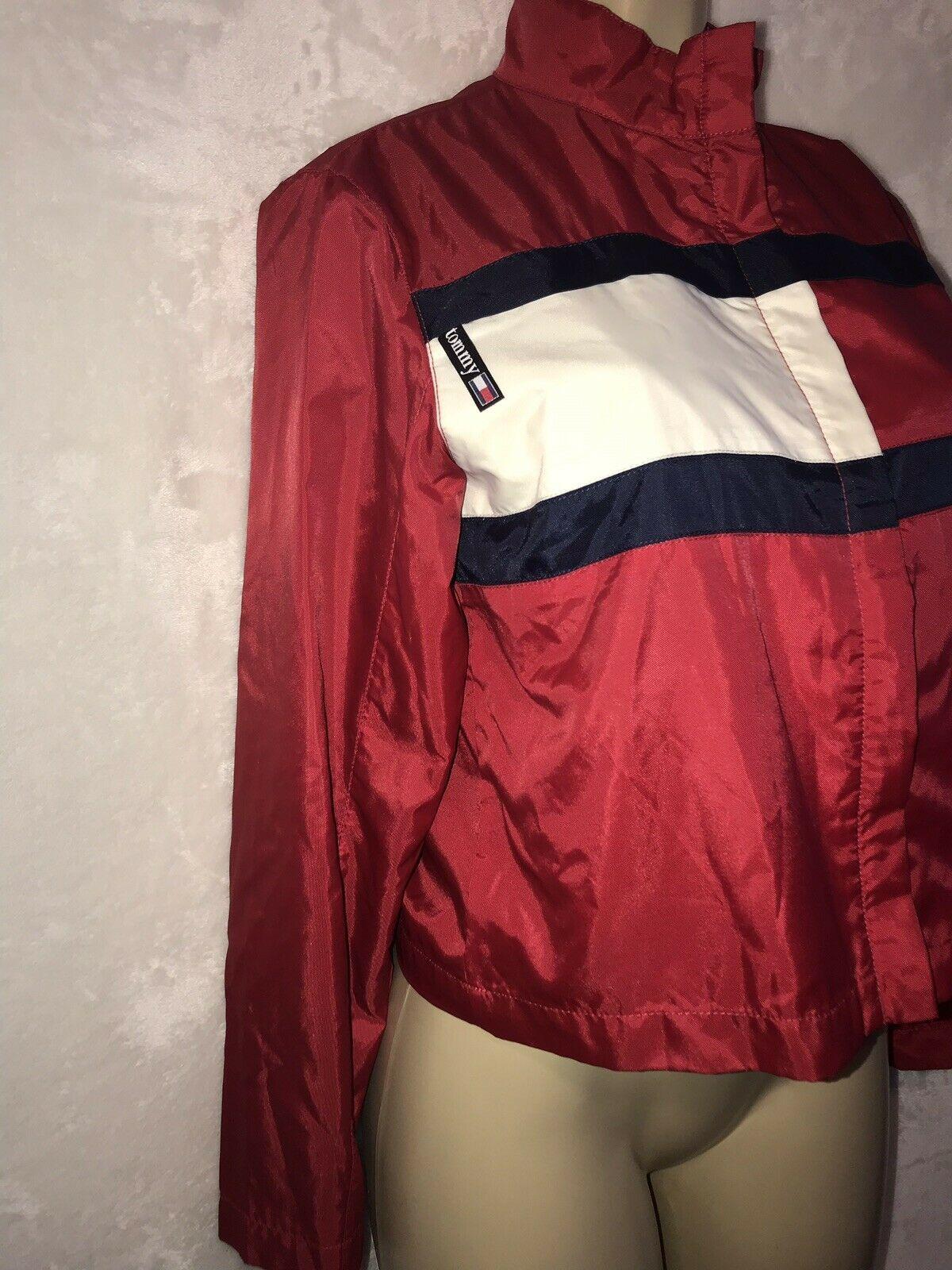Vintage 90s TOMMY Jeans  HILFIGER Big Flag Logo Nylon Crop Jacket Colorblock S image 4