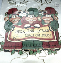 Plaid Christmas Iron-on Transfer 'Deck The Stalls With Cows On Holly'+Bo... - $11.88