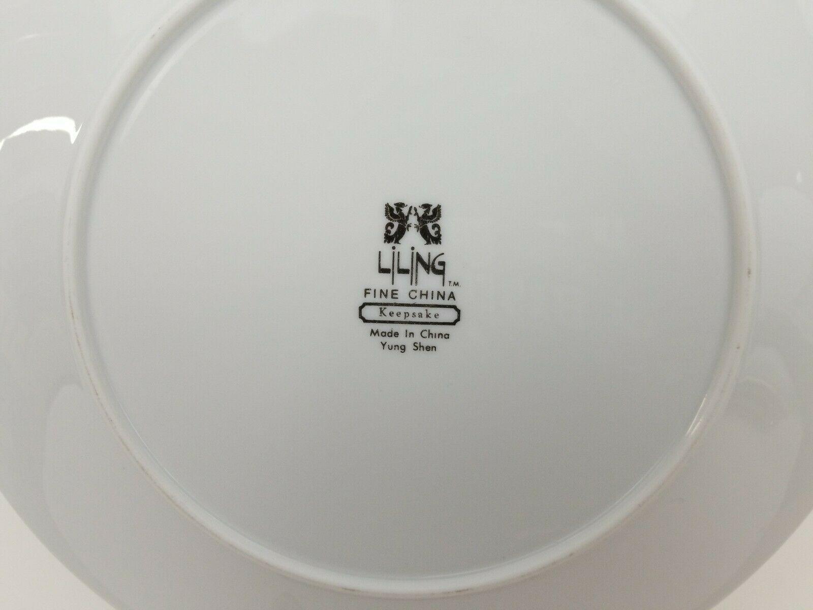 "Liling Fine China Dinner Plates Set of 4 Yung Shen White Roses Keepsake 10 5/8"" image 4"