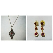 Vintage Fashion Gold Tone Locket Pendant Necklace & Matching Dangle Earr... - $19.93