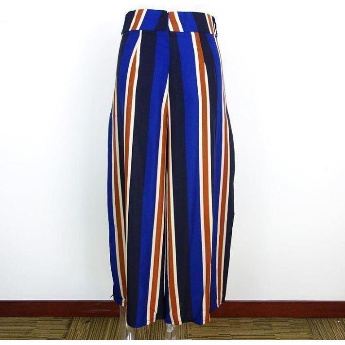 Summer Stripe Loose High Slit Women Trousers