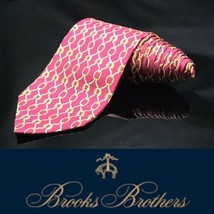 Brooks Brothers Makers Neck Tie Red Gold Chain Links Chainlink 100% Silk Tie - $35.87