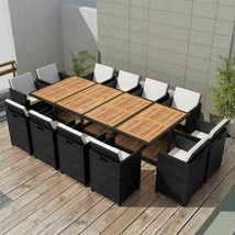 vidaXL Outdoor Dining Set 37 Piece Wicker Poly Rattan Black Glass Table ... - $1,033.99