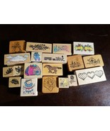 19 Mixed Woodmounted Rubber Stamps leaves snowman hearts pooh horse cats... - $9.79