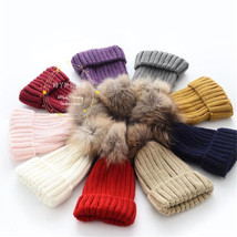 Hot Real Large Raccoon Fur Pom Pom Women Girl Winter Knit Beanie Bobble ... - ₨843.77 INR