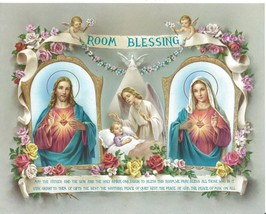Catholic Print Picture CHILD ROOM BLESSING Sacred Heart Jesus & Mary Ang... - $14.01