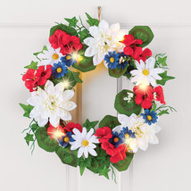 Lighted Patriotic Blossoms Wreath - $29.91
