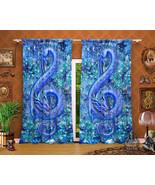 Sapphire Music Dragon Curtains, Blue Gemstone, Healing Crystal, Window Drapes - $164.00 - $182.00