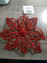(2) Christmas House Red Glittery Poinsettia Ornament Decoration. New - $14.80