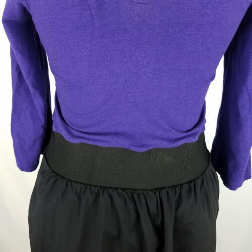 Express Dress Womens Sz 8 Black Purple Elastic Waist Stretch 3/4 Sleeve Pockets image 7