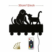 Dog And Cat LED Wall Hook Keys Handbags Hanger Clothes Rack for Animals ... - $30.38+
