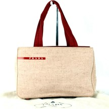 Authentic PRADA Milano Pink & Red Canvas & Nylon Tote Hand Bag Purse Italy - $157.41