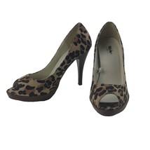 Mossimo Pin-Up High Heels Women's Size 7 Platform Peep Toe Leopard Print... - $28.66