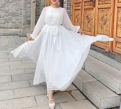 Lady Plus Size Long Chiffon Dress Oversized Summer Holiday Dress,Long Sleeve,Red image 4
