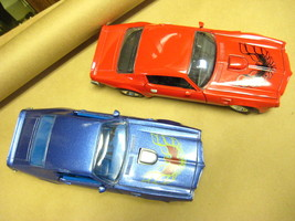 TWO 1973 Pontiac Firebird Trans Am Die Cast Car 1/24 Scale Red and Blue ... - $67.50