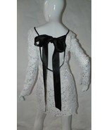Dress Lace White with Black Ribbon Tie Made in Australia Size Small - $55.85