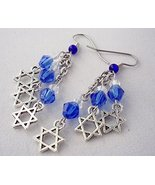 Star of David Charm Crystal Cluster Earrings Blue and White Handmade - $18.00