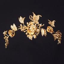 Gold Flower Bridal Tiaras Vintage Hair Jewelry Wedding Headpiece Women B... - $17.78