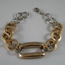 .925 RHODIUM SILVER AND YELLOW GOLD PLATED BRACELET WITH CIRCLES AND RECTANGLE image 1