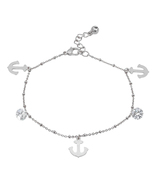 PIATELLA Ladies Stainless Steel crystal & anchor charm anklet - $13.99