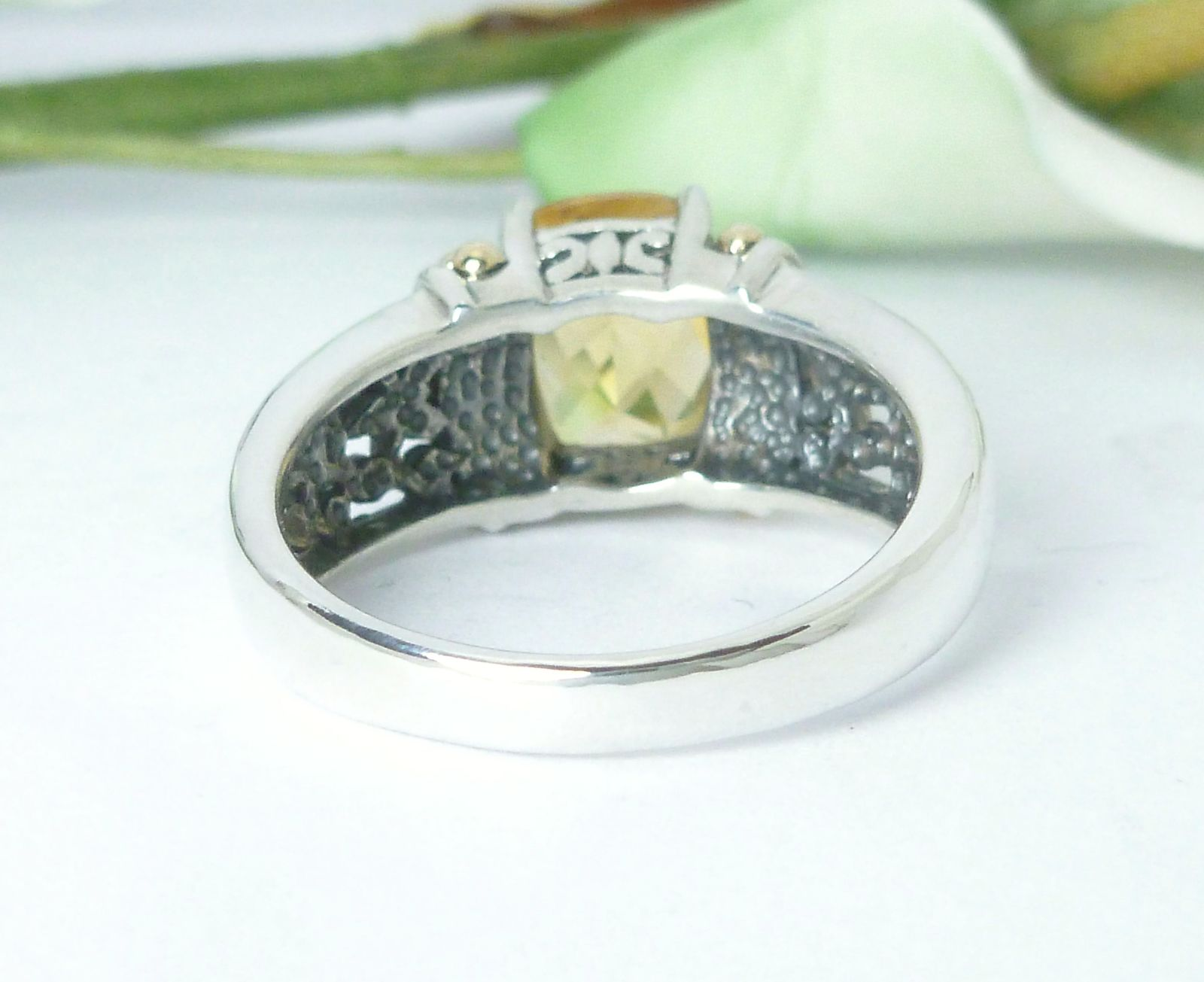 Sterling Silver 14K Yellow Gold Citrine Gemstone Ring Size 6.75