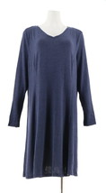 Halston Petite Super Soft Knit V-neck A-line Dress Broadway Blue PS NEW ... - $30.67