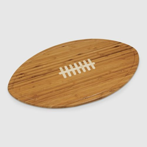 Football Cheese Board Platter, Natural Bamboo w/Inlaid White Laces, Side Grooves