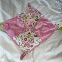 Maison Chic Pink w Corduroy Owl Rattle Baby Girl Security Blanket Lovey - $24.74