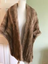 Vintage Genuine Mink Fur Stole Cape Shawl Blonde  - $123.75