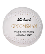 Groomsman Custom Softball Wedding Gift - Personalized Wedding Favor - $34.95