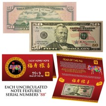2019 Lunar Chinese New YEAR of the PIG Lucky US $50 Bill w/ Red Folder - S/N 88 - $176.67