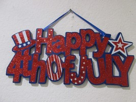 "Patriotic 4th of July Hanging HAPPY 4TH OF JULY  Wall Door Sign Decor 16.5"" - €15,41 EUR"