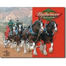 Anheuser Busch Budweiser Beer Bud Clydesdales Horses Retro Vintage Tin S... - $15.99