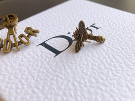 """SALE** AUTH Christian Dior 2019 """"J'ADIOR"""" EARRINGS Aged Gold Bee Wasp image 3"""