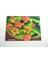 Original Watercolor Painting R. Linde Nasturtiums Floral Signed Art Flowers - $25.98