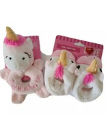 Walgreens Babys 1st Valentine Unicorn Baby Rattle And Booties White and ... - $10.27