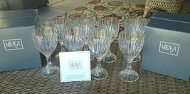 "8 Lot Mikasa Crystal Park Lane Wine Glasses Goblets 6 3/8"" New in Box - $131.50"