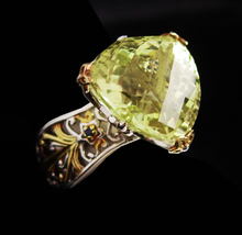 HUGE 4CT peridot ring / Cushion cut Cocktail Ring / Vintage Sapphire Ste... - $125.00
