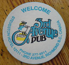 Coaster Third Ave Pub 1980s Pelican BC Beer One White Blue Yellow Black Vintage