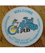 Coaster Third Ave Pub 1980s Pelican BC Beer One White Blue Yellow Black ... - $3.99