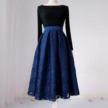 BLACK LACE A Line Midi Pleated Skirt Lady High Waisted Pleated Black Lace Skirt image 6
