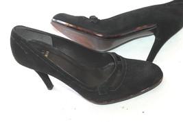 Stuart Weitzman Black Suede Pumps Size 7 M Tortoise Trim Mary Jane Shoes - $34.65