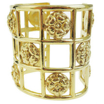 Chanel Auth camellia bangle bracelet gold metal 37BD765 - $1,743.26