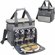 Insulated Cooler Tote Bag for Picnic Lunch with 4 Tableware Set Outfit -... - $58.29