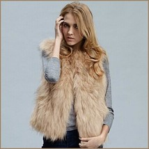Beige Fox Hair Faux Fur Vest - Fun fashion furs worn w/ everything!