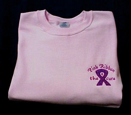 Primary image for Breast Cancer Sweatshirt 3XL Awareness Ribbon 4 the Cure Pink Crew Neck Blend